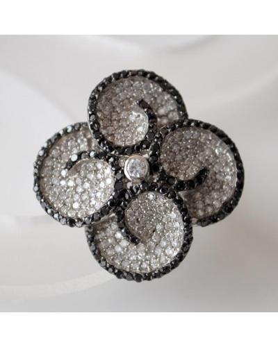 Grande bague zircons blanc noirs argent massif 925