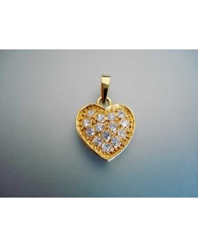 Pendentif coeur or jaune 750 pavé de zirconiums
