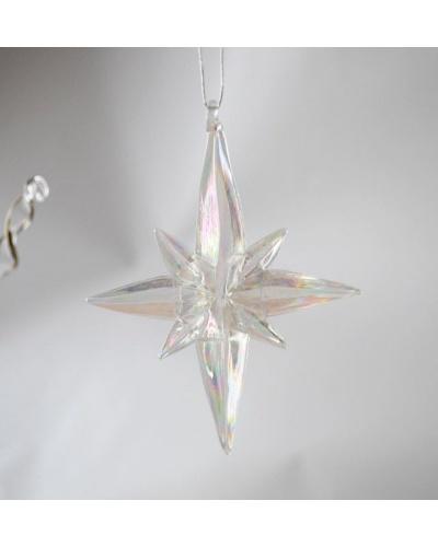 Déco de Noël étoile de neige en verre