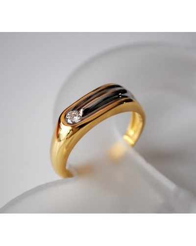 Bague homme diamant or 750 bicolore