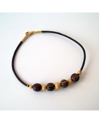Bracelet or jaune 750 bois et cuir