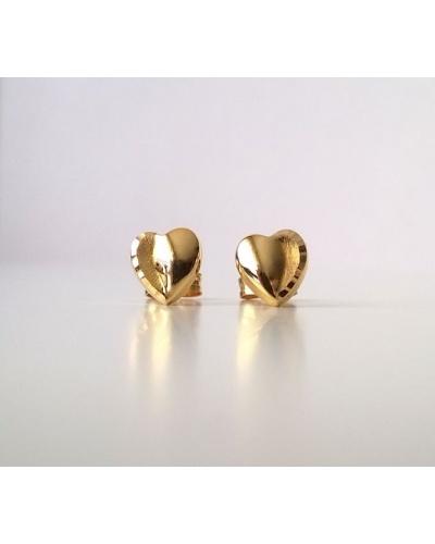 Boucles d'oreilles puces coeur ciselé or jaune 750