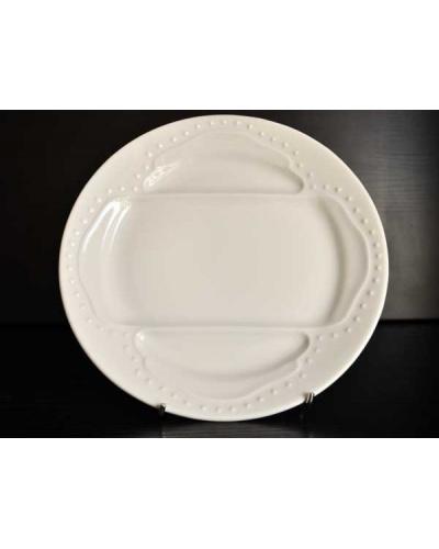 Panier 6 assiettes asperges porcelaine blanche L'Hirondelle