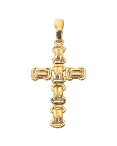 Grande croix fantaisie or jaune 750