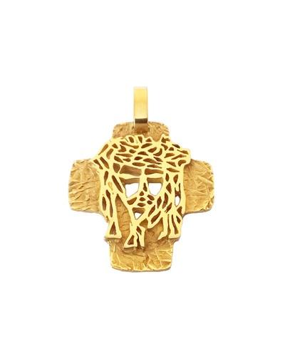 Croix tête du Christ or jaune 750