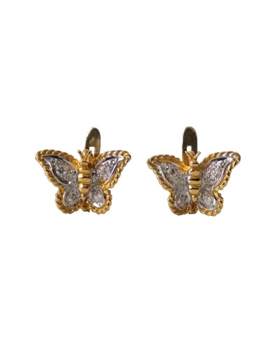 Boucles d'oreilles Papillons zirconiums or 750 bicolore