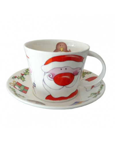 grande tasse d jeuner happy xmas no l porcelaine anglaise roy kirkham. Black Bedroom Furniture Sets. Home Design Ideas
