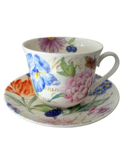 2 tazas para desayuno World of Flowers Roy Kirkham