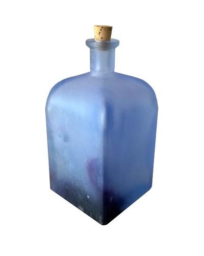 Flacon verre bleu mat Cristal de Bohême