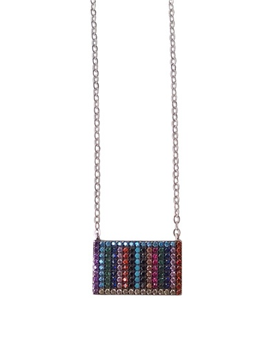 Collier multicolore rectangle argent massif 925