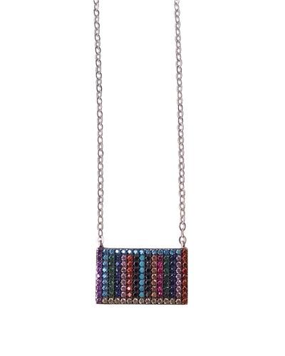 Collier multicolore rectangle argent massif 925