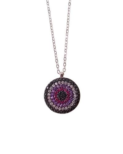 Collier multicolore violet noir fushia cercle 16 mm argent massif 925