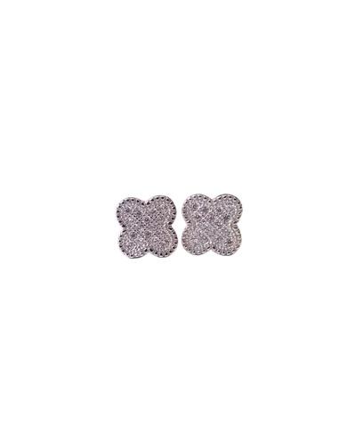 Boucles d'oreilles trèfles zirconiums argent massif 925