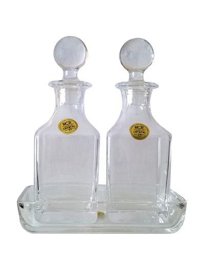 Huile et vinaigre plateau cristal RCR