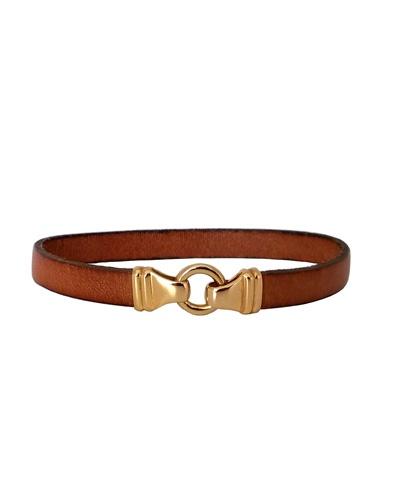 Bracelet homme cuir anneau or jaune 750