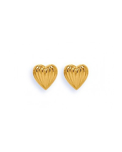 Boucles d'oreilles coeur strié plat or jaune 750
