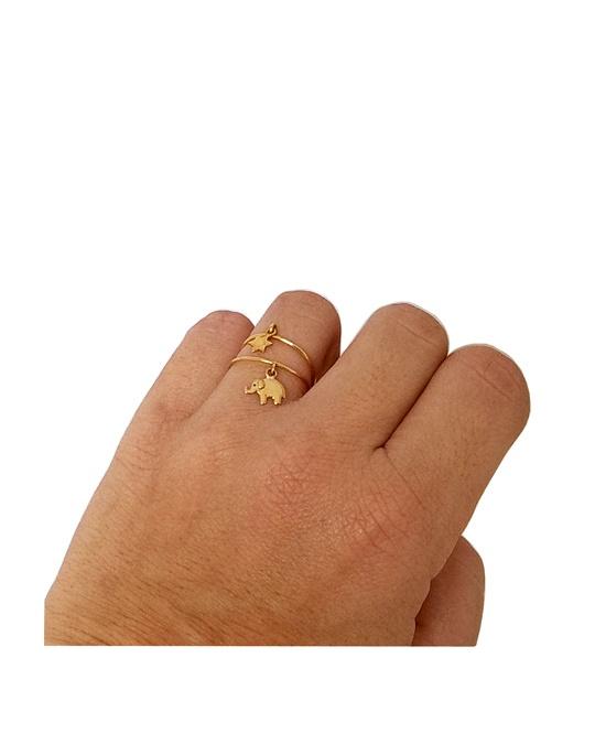 magasin officiel thésaurisation comme une denrée rare bien Bague fine breloque étoile en or jaune bijou minimaliste femme Arior