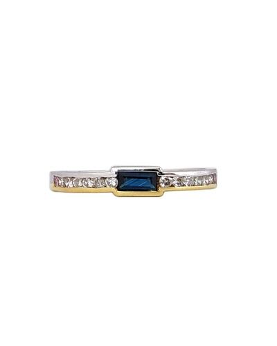 Bague carrée saphir baguette diamants 2 ors 750