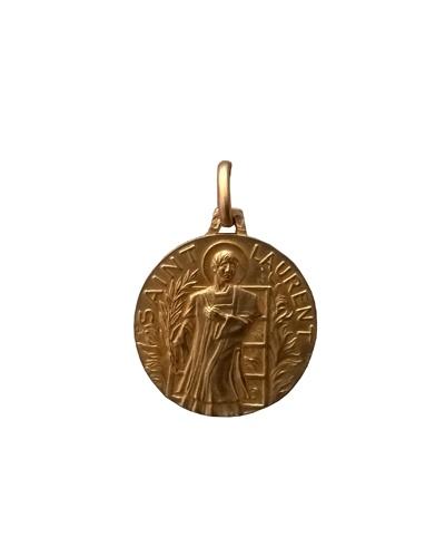 Médaille Saint Laurent 20mm or jaune 750