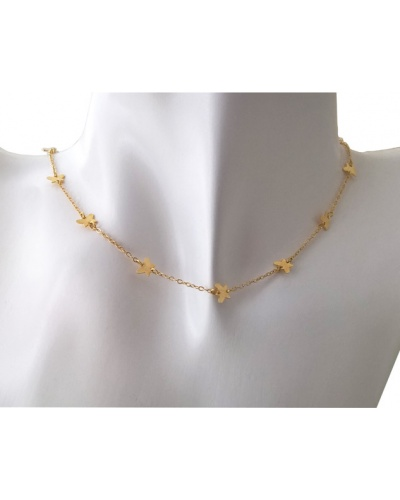 Collier fin papillons or jaune 750
