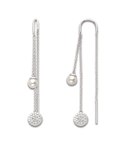 Boucles d'oreilles 3 chaines perles zirconiums argent 925 Caplain