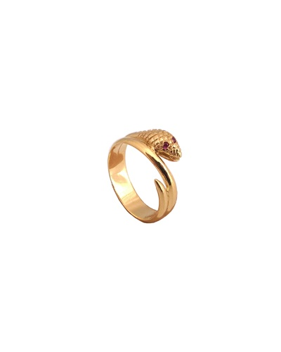Bague tête serpent rubis or jaune 750