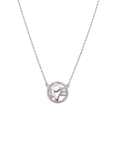 Collier cercle Love zirconiums argent 925 rhodié