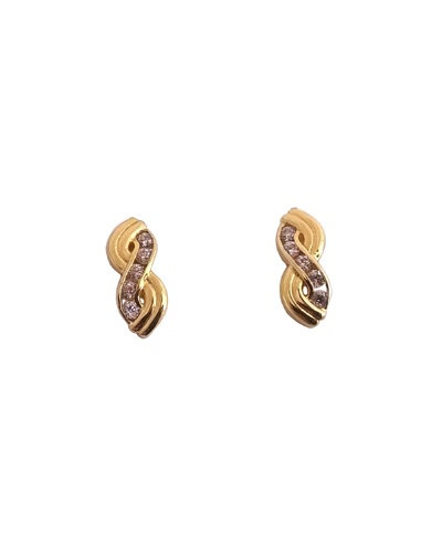 Boucles d'oreilles Infini zirconiums or jaune 750