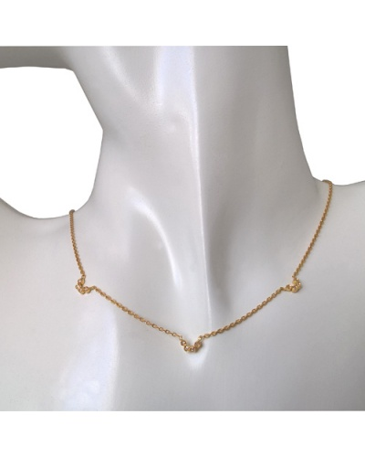 Collier choker diamants or jaune 750 38 cm