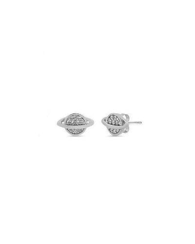 Boucles d'oreilles Saturne zirconiums argent 925