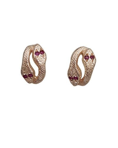 Boucles d'oreilles serpents rubis or jaune 750