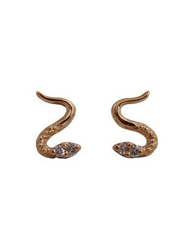 Boucles d'oreilles serpent diamants or jaune 750 puces