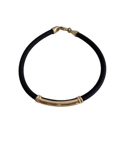 Bracelet homme identité or jaune 750 caoutchouc