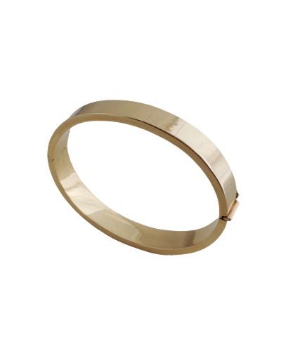 Bracelet jonc ouvrant tube carré or jaune 750 10 mm
