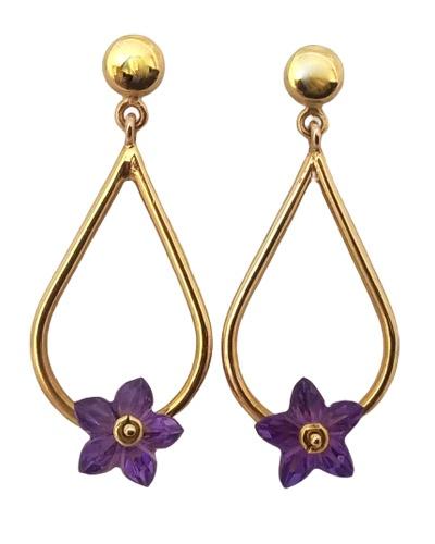 Boucles d'oreilles améthyste fleurs or jaune 750