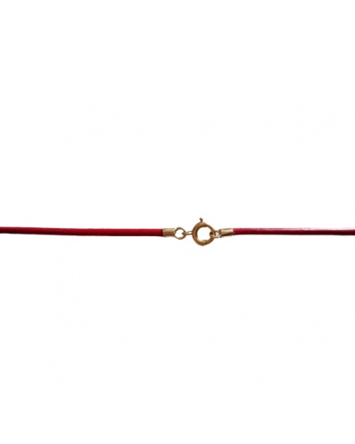 750 Yellow Gold Red Leather Cord