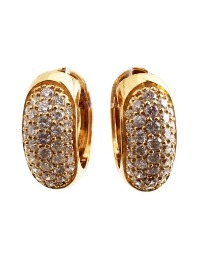 Boucles d'oreilles pavé diamants or jaune 750