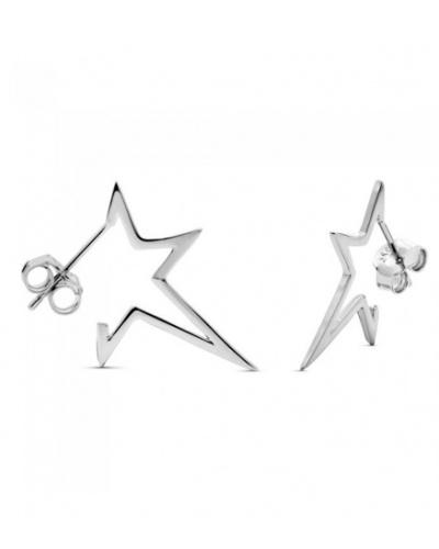 Boucles d'oreilles étoiles plates argent 925 rhodié